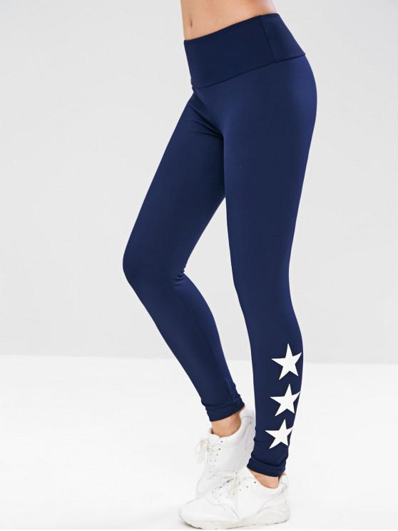 shop ZAFUL Star Wide Waistband Sports Leggings - CADETBLUE L