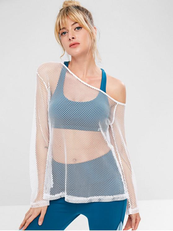 womens ZAFUL Fishnet Skew Neck T-shirt - WHITE S