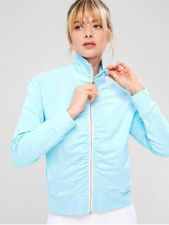chic ZAFUL Ruched Zipper Pocket Jacket - LIGHT SKY BLUE M