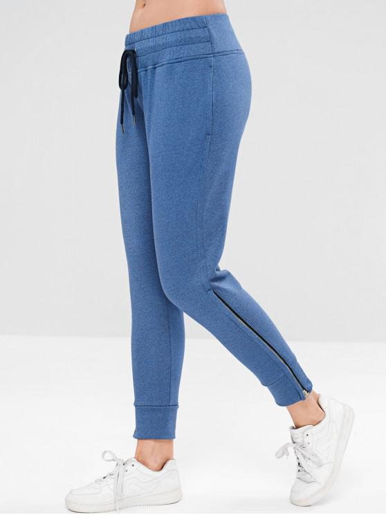 hot ZAFUL Drawstring Zipper Side Jogger Pants - OCEAN BLUE L