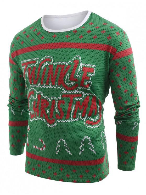 fancy Knitted Sweater Print Christmas T-shirt - MEDIUM SPRING GREEN 2XL