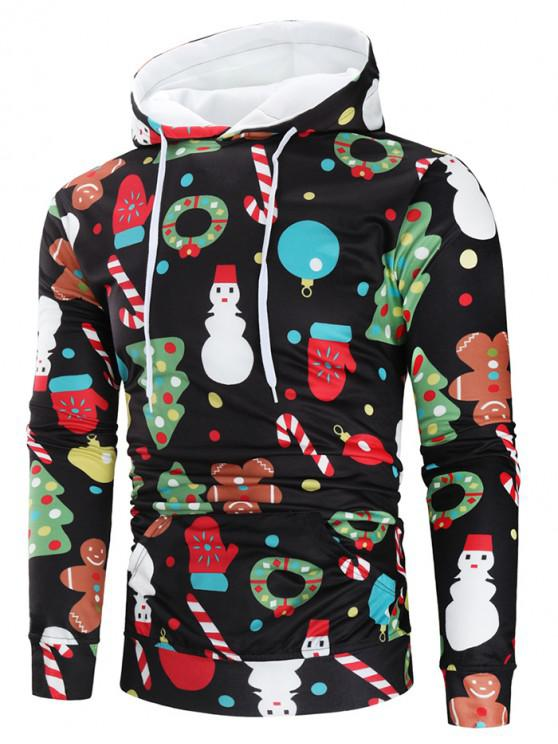 chic Christmas Theme Printed Long Sleeve Hoodie - MULTI 2XL