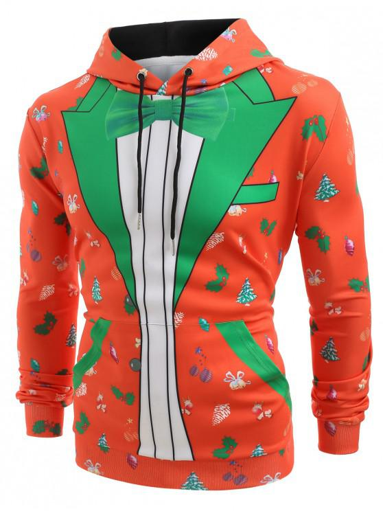 outfit Christmas Blazer Print Hoodie - LAVA RED XL