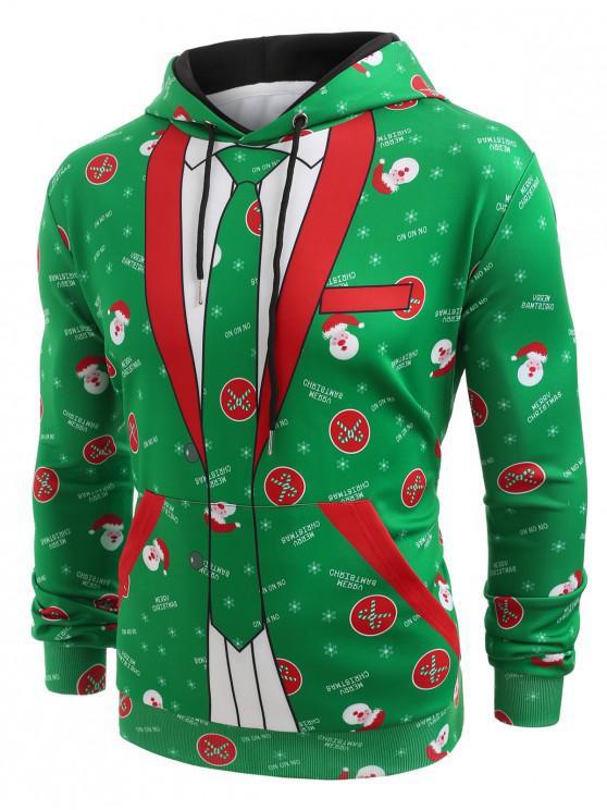 women's Christmas Blazer Pocket Hoodie - CLOVER GREEN XL