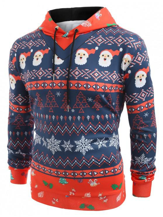 outfit Christmas Elements Print Hoodie - MIDNIGHT BLUE M