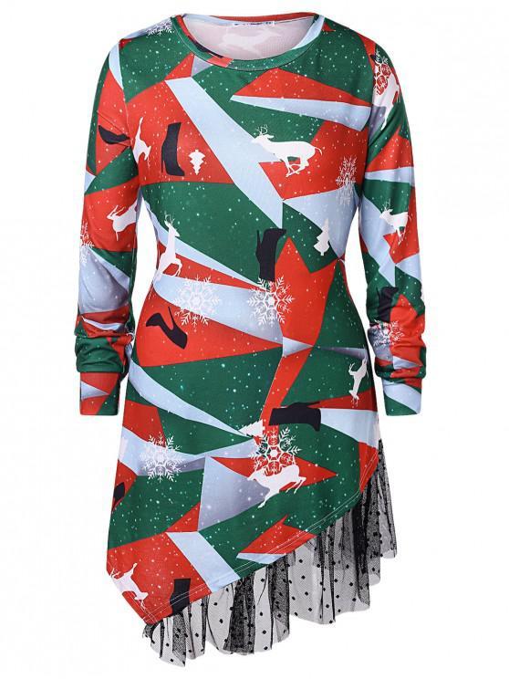 outfit Plus Size Printed Asymmetrical Christmas T-shirt - MULTI 5X