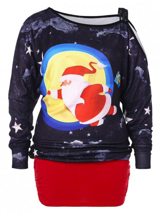 women Plus Size Cold Shoulder Christmas Blouson T-shirt - MULTI 2X