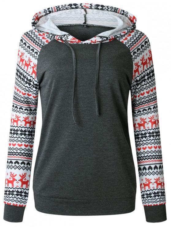 outfit Christmas Raglan Sleeve Pullover Hoodie - DARK GRAY L