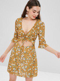 Floral Ruffles Cut Out Mini Dress - Mustard L