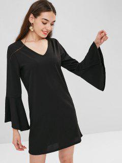 Flared Cuffs Tunic Dress - Black Xl