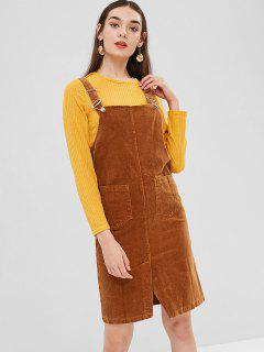 Slit Corduroy Pinafore Dress - Caramel M