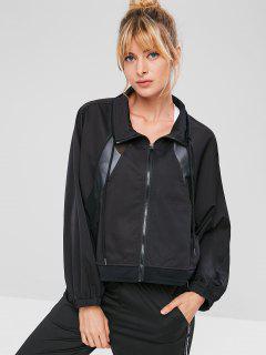 Mesh Insert Raglan Sleeve Jacket - Black S