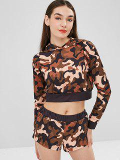 Cropped Camouflage Hoodie And Shorts Set - Woodland Camouflage L
