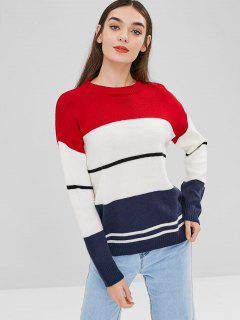 Stripe Color Block Sweater - Multi