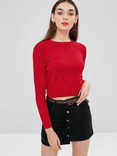 Einfarbiger Crop Sweater - Rot L
