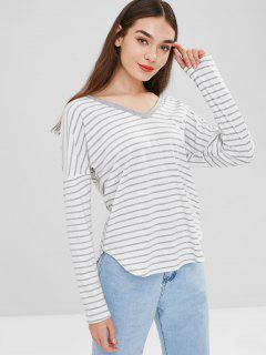 Hooded Striped Top - White Xl