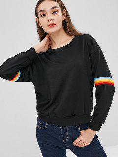 Sudadera Con Parche De Rayas De Arco Iris - Negro L