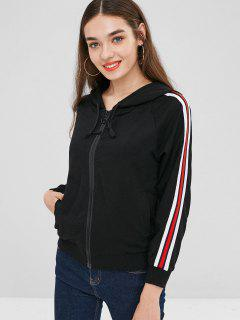 Drawstring Stripes Zip Up Hoodie - Black S