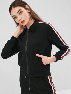 Stripes Zip Up Jacket - Black S