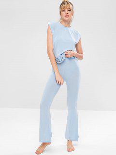 Yoga Tank Top And Flare Pants Set - Light Blue L