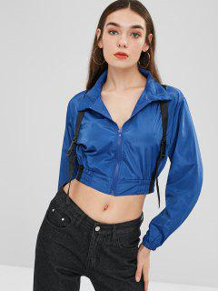 Cropped Buckled Windbreaker Jacket - Ocean Blue M
