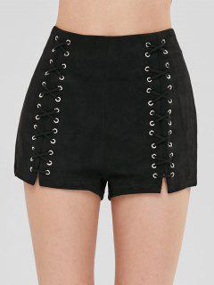 Faux Suede Lace Up Shorts - Black M
