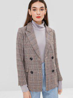 Double Breasted Plaid Wool Blend Blazer - Coffee M