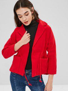 Lapel Patch Pockets Faux Wool Coat - Red M