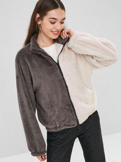 Fluffy Color Block Coat - Multi S
