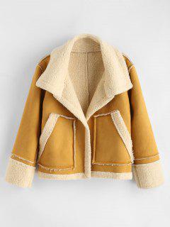 Manteau Avec Poche En Fauss Laine - Moutarde S