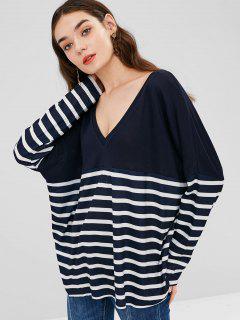 Camiseta Suelta Con Cuello En V - Azul De Medianoche Xl