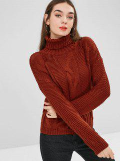 Cable Knit Drop Shoulder Turtleneck Sweater - Chestnut Red