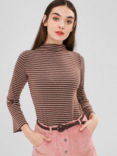 Striped Bell Sleeve T-shirt - Coffee