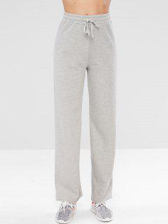 Drawstring Raw Hem Sports Pants - Light Gray L