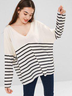 Camiseta Suelta Con Cuello En V - Blanco Cálido L