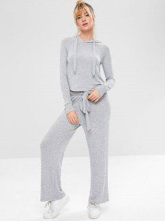 Marled Sports Hoodie And Pants Set - Gray M