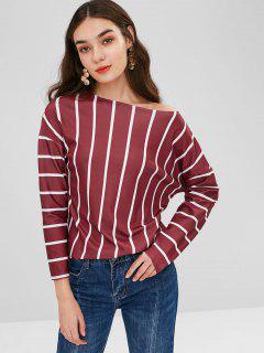 Skew Cuello Suelto Camiseta A Rayas - Rojo Cereza Xl