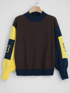 Jacquard Balloon Sleeve Color Block Sweater - Coffee