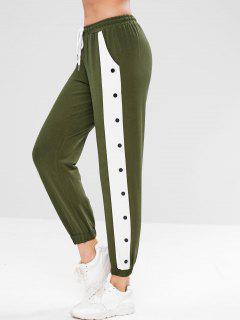 Pantalones Deportivos Jogger En Contraste - Verde Del Ejército M