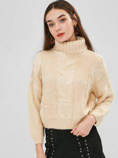 Drop Shoulder Cable Knit Turtleneck Sweater - Cornsilk
