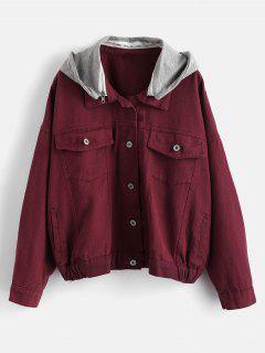Hooded Denim Jacket - Velvet Maroon M