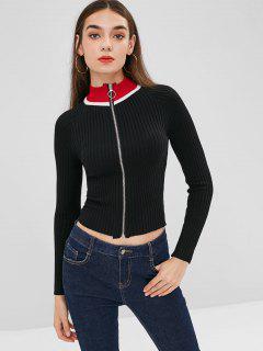 Raglan Sleeve Zip Up Stripes Cardigan - Black M