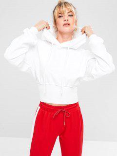 Ribbed Hem Sports Gym Hoodie - White M