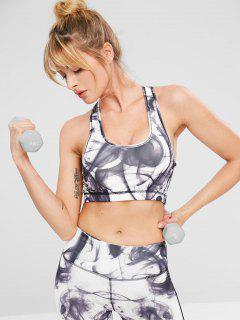Smoke Print Racerback Exercise Bra - White M