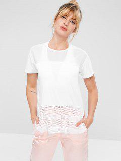 Mesh Panel Hollow Out T-shirt - White M
