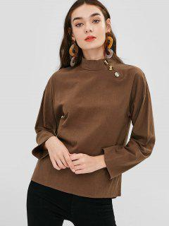 Drop Schulter High Neck Bluse - Tiefkaffee S