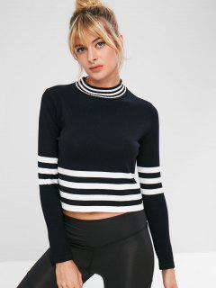 Seamless Knitted Stripe Boxy Tee - Black M