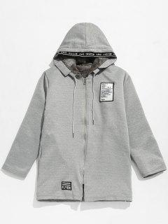 Applique Embellished Hooded Fleece Jacket - Gray Cloud Xl