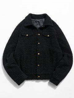 ZAFUL Snap Button Pocket Fluffy Jacket - Black M
