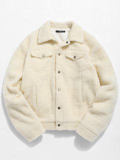ZAFUL Snap Button Pocket Fluffy Jacket - Apricot M